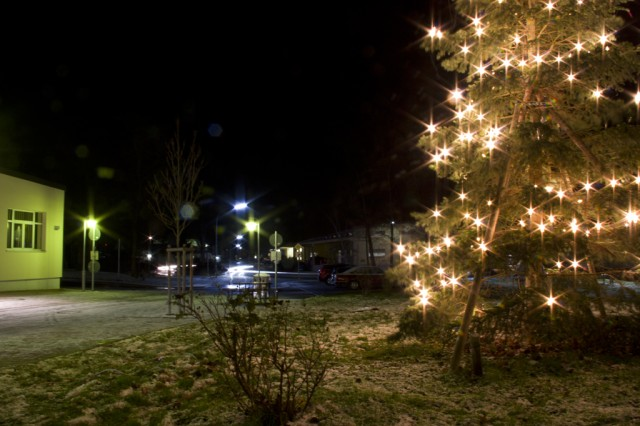 The Christmas tree stays on at Storck Barracks after everyone has left the ceremony Dec. 6.