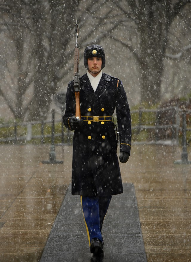 Tomb Sentinels continue duty through DC's first snow
