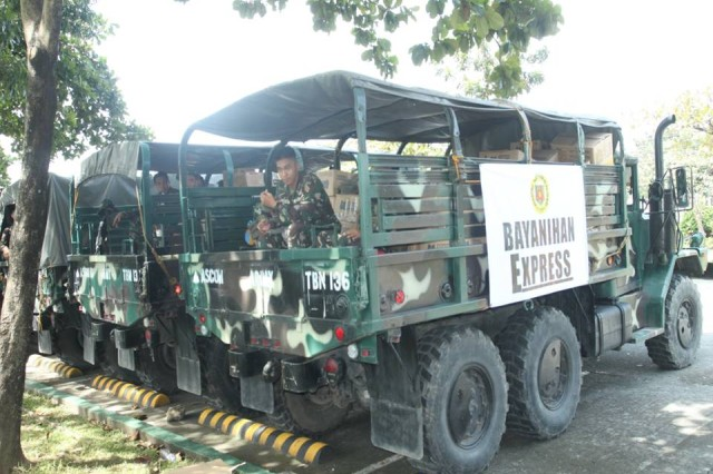 M-35 trucks, sold through the Army's foreign military sales program to the Philippine Armed Forces, are used to transport goods, personnel and other requirements to remote areas of the country following Super Typhoon Haiyan.