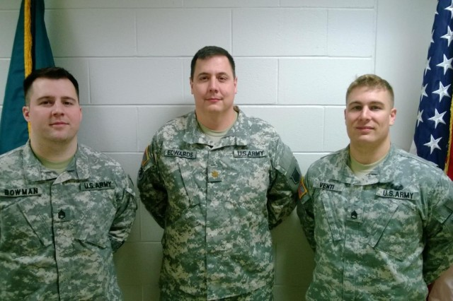 "(Left to right) Staff Sgt. Nathan Bowman, Maj. Adrian Edwards, and Staff Sgt. Sean Venti are pictured. The Northeast Information Operations Center team ""The Victorizers,"" based at Fort Devens, Mass., comprised of Bowman, Edwards, and Venti, took third place in the 2013 Defense Cyber Crime Center Digital Forensic Challenge, Dec. 3, 2013."