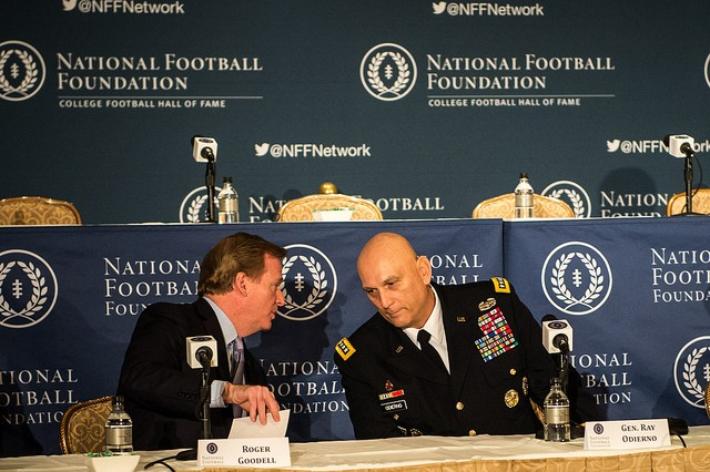 National Football League Commissioner Roger Goodell speaks with U.S. Army Chief of Staff Gen. Ray Odierno before the National Football Foundation Press Conference on December 10, 2013 at the Waldorf Astoria, New York City, Ny. (U.S. Army photo by Sgt. Mikki L. Sprenkle/Released)