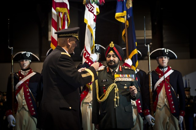 GEN Ray Odierno, Chief of Staff, Army, visits with Indian counterpart General Bikram Singh, Chief of Army Staff and the Indian Army.