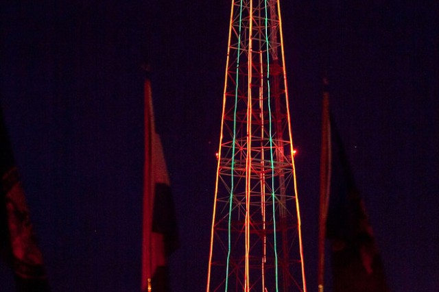 The 250-foot tower was lit Thursday during the annual Tower Lighting Ceremony.