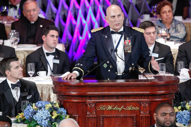 U.S. Army Chief of Staff Gen. Ray Odierno addresses the audience of the National Football Foundation Awards Dinner Dec. 10, 2013 at the Waldorf Astoria, New York City. Odierno was honored by the NFF with the Distinguished American Award. (Photo by Gene Boyars)