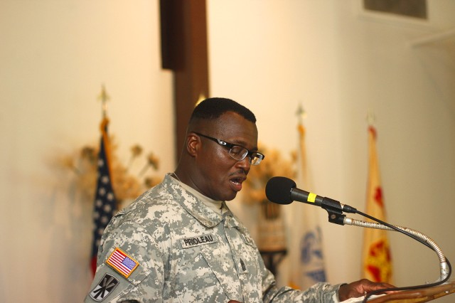 "Sgt. Maj. Roderick Prioleau, senior enlisted advisor, U.S. Army Garrison-Kwajalein Atoll, addresses a crowd of nearly 100 during his Relinquishment of Responsibility Dec. 5 at the Island Memorial Chapel. ""It has been an honor to be part of team Kwajalein,"" Prioleau said."