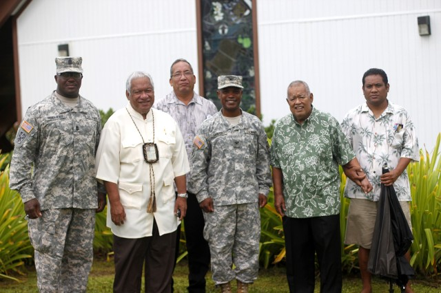 Leaders from both U.S. Army Garrison-Kwajalein Atoll and the Republic of the Marshall Islands pause for a photo after the Relinquishment of Responsibility of Sgt. Maj. Roderick Prioleau, USAG-KA enlisted senior advisor, Dec. 5 at the Island Memorial Chapel. From left are: Prioleau; Iroij Senator Mike Kabua; RMI liaison Lanny Kabua; Col. Nestor Sadler, USAG-KA commander; and Iroijlaplap (Paramount chief); and former RMI president Imata Kabua.