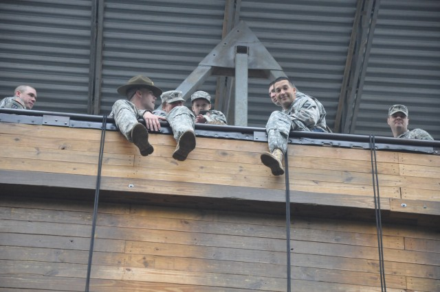 Richard Culliver, right, admires the view from the top of Victory Tower during last week's visit to Fort Jackson, S.C.