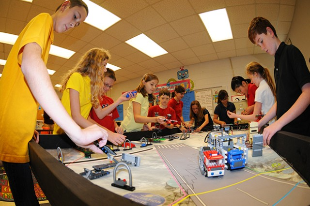 The Fort Rucker Elementary School Lego Robotics Team competed for the first time in The First Lego League state qualifier in Birmingham Nov. 30. The team is composed of fourth through eighth graders who competed against more than 60 teams from the state. They won the Core Values category for teamwork and cooperation.