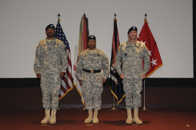 The U.S. Army Materiel Command hosted a change of responsibility for its senior enlisted leader in a formal ceremony at the Bob Jones Auditorium at 10 a.m. on Dec. 12. Gen. Dennis L. Via, AMC commanding general, presided over the ceremony that transfered responsibility from Command Sgt. Maj. Ronald T. Riling to Command Sgt. Maj. James K. Sims. U.S. Army Photo by:Doug Brewster.