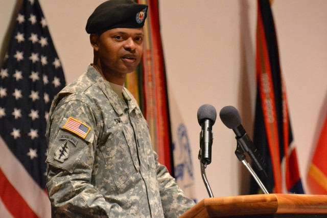 The U.S. Army Materiel Command hosted a change of responsibility for its senior enlisted leader in a formal ceremony at the Bob Jones Auditorium at 10 a.m. on Dec. 12. Gen. Dennis L. Via, AMC commanding general, presided over the ceremony that transferred responsibility from Command Sgt. Maj. Ronald T. Riling to Command Sgt. Maj. James K. Sims. U.S. Army Photo by Cherish Washington, AMC Public Affairs.