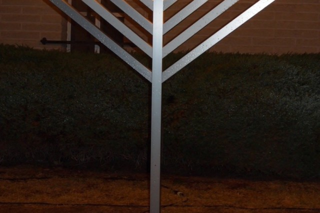 The menorah outside the Main Post Chapel remains fully lit at the Holiday Lighting Dec. 5. In a rare occurrence, Hanukah began Nov. 27 and ended this year on Dec. 5.
