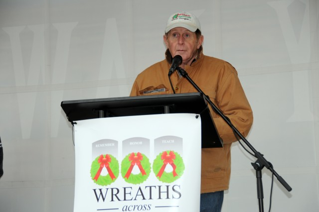 """Morrill Worcester, founder of the """"Wreaths Across America"""" event, spoke to volunteers at Arlington National Cemetery in northern Virginia, Dec. 14, 2013, before wreaths were passed out to place on gravesites."""