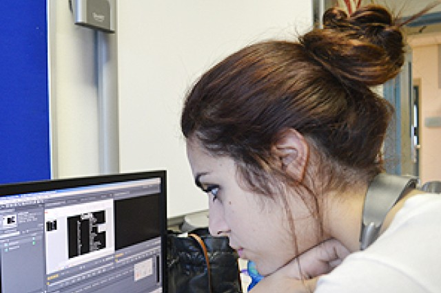 Vicenza High School senior Miranda Martinez works on a welcome video in Karen Drake's video communication class this fall. The resulting S2S, or student to student, production was recognized by the Military Child Education Coalition for its positive impact on incoming students at the Vicenza, Italy, school.