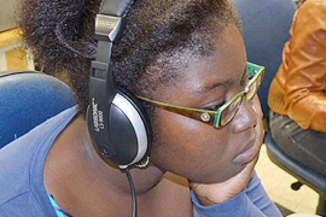 Vicenza High School senior Eugenia Johnson works on a welcome video in Karen Drake's video communication class this fall. The resulting S2S, or student to student, production was recognized by the Military Child Education Coalition for its positive impact on incoming students at the Vicenza, Italy, school.
