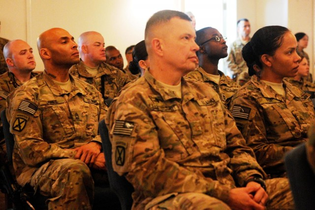 U.S. Army soldiers with 4th Brigade Combat Team, 10th Mountain Division, Task Force Patriot, absorb lessons on wellness and resiliency while attending Operation Army Ready: Ready and Resilient seminar at Bagram Air Field, Dec. 7, 2013. They joined other soldiers from across Afghanistan in learning the Army's new approach to taking care of the physical and emotional well being of it's members. (U.S. Army Photo by Sgt. Eric Provost, Task Force Patriot PAO)