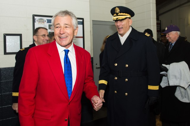 U.S. Army Chief of Staff Gen. Ray Odierno meet up with Secretary of Defense Chuck Hagel before the 114th Army-Navy football game in Philadelphia, PA, Dec. 14, 2013.  The Army-Navy game is an American college football rivalry between the United States Military Academy and the United States Naval Academy dating back to 1890.  (U.S. Army photo by Staff Sgt. Steve Cortez/ Released)