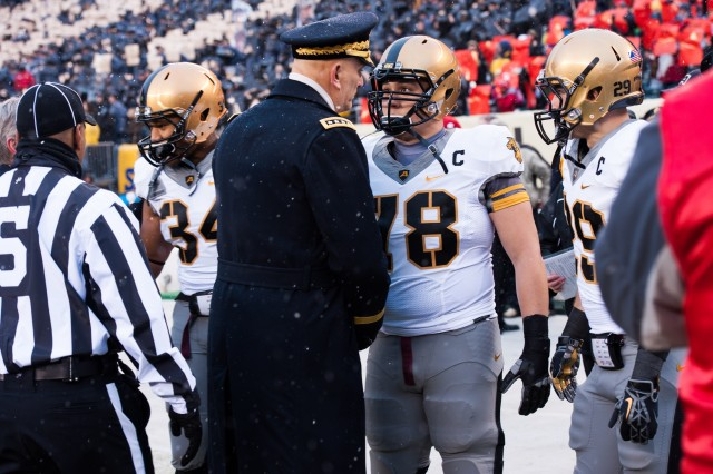 U.S. Army Chief of Staff Gen. Ray Odierno provides motivation to West Point players before the 114th Army-Navy football game in Philadelphia, PA, Dec. 14, 2013.  The Army-Navy game is an American college football rivalry between the United States Military Academy and the United States Naval Academy dating back to 1890.  (U.S. Army photo by Staff Sgt. Steve Cortez/ Released)