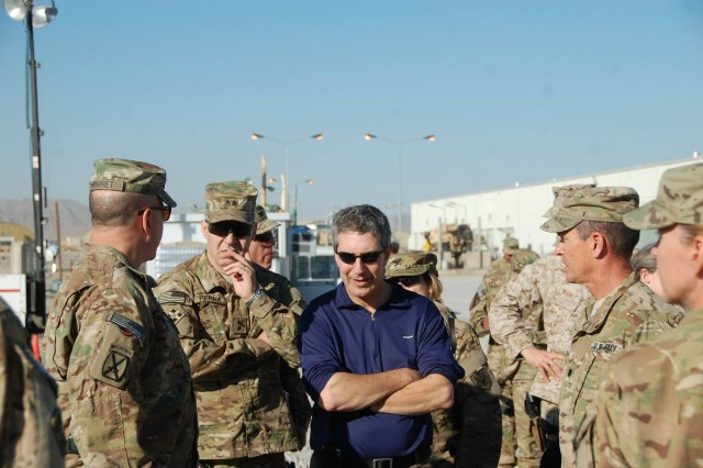 Lt. Col. Roy Speaks, AFSBn-Kandahar, 401st Army Field Support Brigade commander, briefs the Honorable Alan Estevez and Maj. Gen. Gustave Perna. Perna is the U.S. Army Materiel Command's Deputy Chief of Staff for Logistics and Operations.