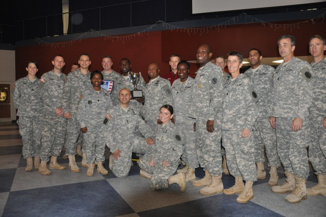 Racking up 2,094 points during this year's athletic season, MEDDAC was awarded the Commander's Cup trophy during last week's sports banquet.