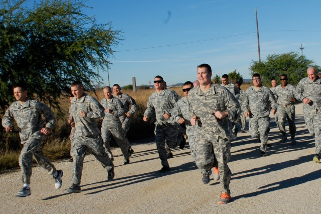 Soldiers of 3rd Battalion, 393rd Regiment, 479th Field Artillery Brigade, Division West, start off the Warrior Artillery Fitness Challenge Dec. 3 with the 3.2 mile run. (Photo by Capt. Javita Facion, 479th Field Artillery Brigade, Division West Public Affairs)