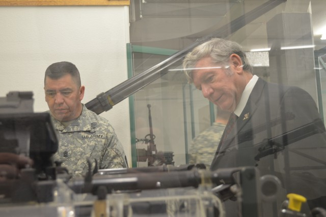 409th Contracting Support Brigade Command Sgt. Major Bentura Fernandez and Paul Michaels, the civilian deputy, visit the Military Technical Study Collection as part of a site visit to German Federal Army Procurement Office in Lahnstein.