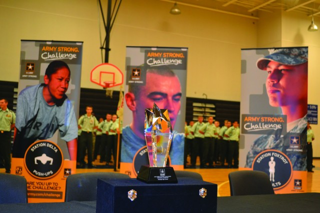 The iHigh Army Strong Challenge trophy was presented to Heritage High School in Palm Bay, Fla., Dec. 13.
