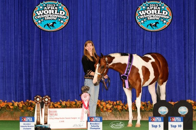 Kristine Alcorn, U.S. Army Space and Missile Defense Command/Army Forces Strategic Command Narrowband Consolidated-SATCOM system expert Global Narrowband Watch Office, G-6 watch officer, and Peter Parker, barn name Spidey, after winning competitions in the 2013 American Paint Horse Association World Championship Show.