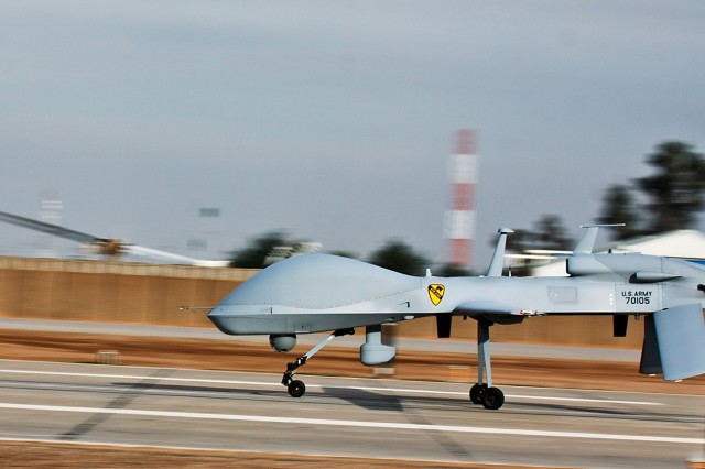 The Army's Grey Eagle unmanned aircraft, like the one pictured here, are being used in testing at Fort Hood, Texas, as part of the Army's effort to draft regulations for the use of Unmanned Aircraft Systems over U.S. airspace. The  Federal Aviation Administration and other federal agencies are also working on this with the Army.