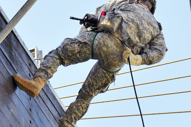 Even as the holidays approach, paratroopers of 1st Battalion, 503rd Infantry Regiment, 173rd Infantry Brigade Combat Team (Airborne) train on Caserma Ederle in Vicenza, Italy, Dec. 6. The Sky Soldiers engaged in military operations in urban terrain, or MOUT, training, and conducted rappel training on the Joint Multinational Training Command-constructed, 34-foot jump tower, the only Army jump tower in Europe. The facilities are a component of the Caserma Ederle Airborne Refresher Training Facility.