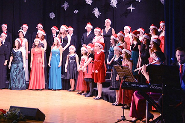 "The cast and crew of ""Celebrate Christmas,"" the community theater of USAG Vicenza, perform the musical holiday review one more time at the Teatro Cà Balbi in Bertesinella, Italy, Dec. 15."