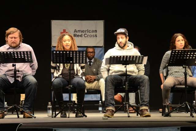 "From left to right: Michael Chernus, Tracie Thoms, Desmin Borges and Elizabeth Rodriguez perform a scene from the play ""Den of Thieves"" written by Stephen Adly Guirgis."