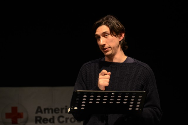 "Adam Driver connects with the audience as he performs a monologue from Sam Shepard's play ""Curse of the Starving Class,"" at the Grafenwoehr Performing Arts Center, Dec. 18."