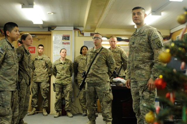 "NANGARHAR PROVINCE, Afghanistan "" U.S. Army Col. Mario Diaz, commander, 4th Brigade Combat Team, 10th Mountain Division, Task Force Patriot, thanks the Soldiers of his brigade's Special Troops Battalion for everything they've done to help make their deployment a success Dec. 25, 2013, at Forward Operating Base Fenty. Diaz spent his Christmas touring Regional Command-East, North of Kabul and made time to visit his Soldiers across four Afghanistan provinces. (U.S. Army Photo by Sgt. Eric Provost, Task Force Patriot PAO)"
