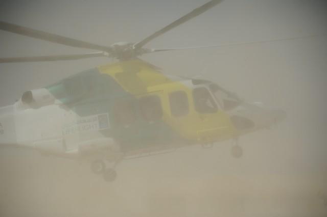 Life Flight helicopter lands on-site for the MEDEVAC.