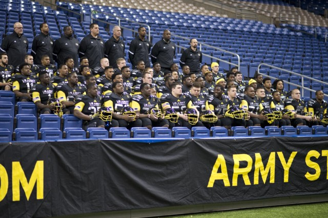 The U.S. Army All-American Bowl East team gets a group photo in their game day uniforms at the Alamodome in San Antonio, Jan. 1, 2014. The 14th annual U.S. Army All-American Bowl will be played Jan. 4, at the Alamodome in San Antonio, starting at 1 p.m. (ET).