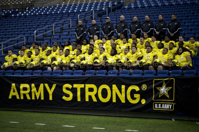 The 2014 U.S. Army All-American Bowl West team gets a group photo in their game day uniforms at the Alamodome in San Antonio, Jan. 1, 2014. The 14th annual U.S. Army All-American Bowl will be played Jan. 4, at the Alamodome in San Antonio, starting at 1 p.m. (ET).