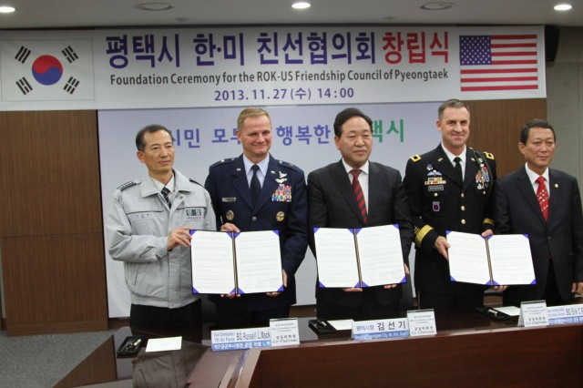 Leaders from Pyeongtaek and the 2nd Infantry Division participated in a Foundation Ceremony for the Republic of Korea and U.S. Friendship Council of Pyeongtaek Nov. 27 at Pyeongtaek City Hall.