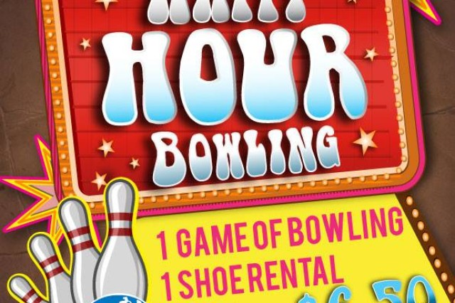 Thursday night means Happy Hour Bowling! $6.50 gets you a game of bowling (shoe rental, too) and a beer! Thursday, Friday and Monday, 5 to 7 p.m. at the Storck and Katterbach Bowling Centers.