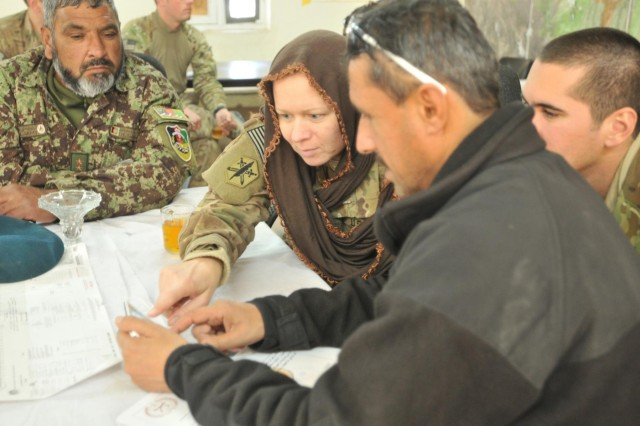Capt. Amber Welch, of St. Ignace, Mich., civil affairs officer with 83rd Civil Affairs Battalion, 85th Civil Affairs Brigade, discusses the security mission with Afghan Lt. Col. Hokomat Sati, operations officer with 4th Brigade, 201st Afghan National Army Corps, at Forward Operating Base Connolly, Afghanistan, Dec. 29, 2013. This meeting between 2nd Battalion, 30th Infantry Regiment advisors, and their counterparts in the 4th ANA Brigade, discussed the progress of three new checkpoints in the Khugyani district of Nangarhar Province that will help ensure a secure election this spring.