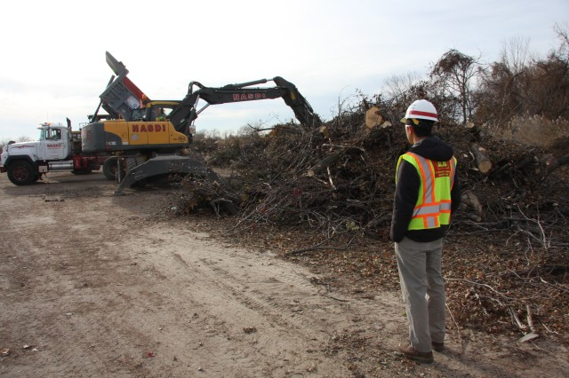 USACE employee overseeing clean up after Hurricane Sandy 2012.