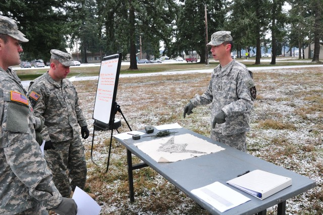 Soldiers with 4-2 Stryker Brigade Combat Team, 7th Infantry Division, discuss crater analysis Dec. 10 here during fire support certifications. (U.S. Army photo by Sgt. Kimberly Hackbarth, 4-2 SBCT, 7th ID Public Affairs Office)