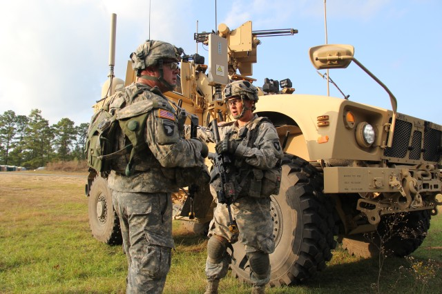 Soldiers from the 2nd Brigade Combat Team, 101st Airborne Division (Air Assault) utilized Warfighter Information Network-Tactical Increment 2-equipped vehicles such as this one during training at the Joint Readiness Training Center at Fort Polk, La., in November 2013.  Inside a Network Operations and Security Center, WIN-T Network Operations tools display maneuver elements on the battlefield (such as dismounted infantry, fires or aviation) on a large screen for easy monitoring and network management.