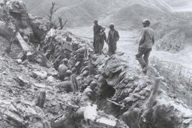 A section of Pork Chop Hill, which was the scene of fierce fighting during the Korean War.