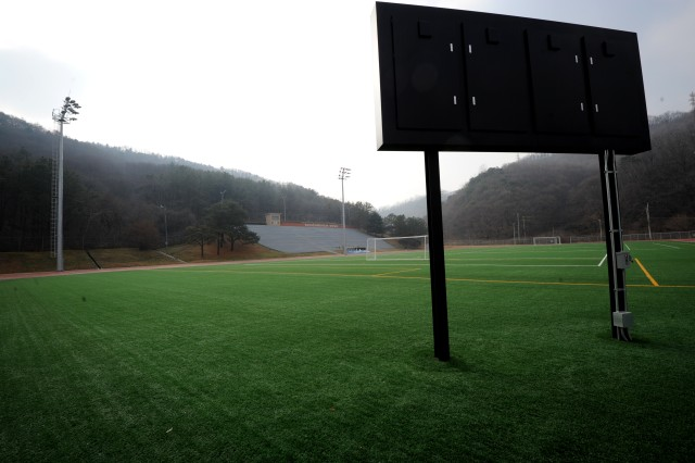"""The Schoonover Bowl at Camp Casey serves as the venue for Area I soccer and flag football games. It's named for Cpl. Daniel D. Schoonover, who was killed in action during the Korean War in the Second Battle of Pork Chop Hill in July 1953. Schoonover was awarded a posthumous Medal of Honor for his """"heroic actions…superb bravery, and willing self-sacrifice"""" over a two-day period, in action against Chinese Communist forces."""