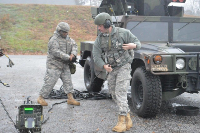 Soldiers with the South Carolina National Guard's 2nd Battalion, 263rd Air Defense Artillery Regiment, performed march order and emplacement crew drills on the Avenger weapon system during the Renegades training visit to the unit recently at Seneca, S.C., to evaluate all crews on Air Defense tasks in relation to the unit's upcoming mission in the National Capital Region date.  (Photo by Sgt. First Class Marlon V. Miguel, 1st Battalion, 362nd Air Defense Artillery Regiment, 5th Armored Brigade, Division West)
