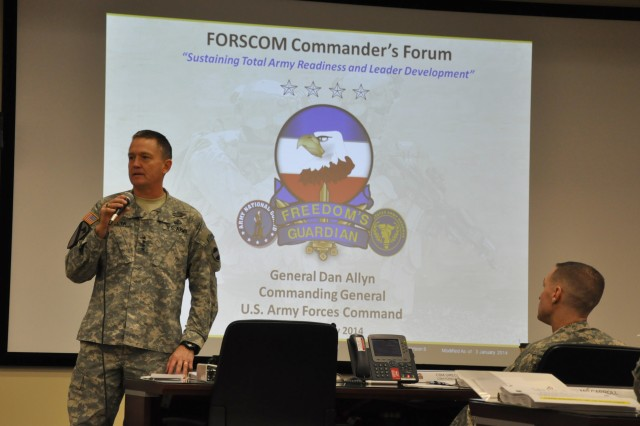 FORT BRAGG, N.C. (Jan. 6, 2014) - Gen. Daniel B. Allyn, commanding general, U.S. Army Forces Command, welcomes the Director, Army National Guard, the Chief of Army Reserve, and commanders and command sergeants major of the corps and divisions assembled for the FORSCOM Commander's Forum to share information and discuss topics affecting the training, readiness, and leader development of the Total Army Force.