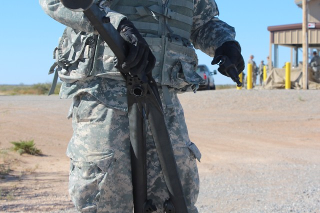 4/1AD Soldier trains on M205 Lightweight Tripod at Fort Bliss, TX. The M205 collapses to less than 50 percent of its deployed height and width. When stowed, the tripod collapses to just 46 inches long, and is just 8 inches high and 12 inches wide.