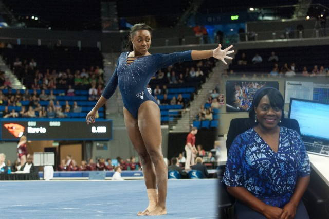 Gymnast Olivia Courtney (left) is the daughter of Tonia Courtney, a contracting intern with the Army Contracting Command, New Jersey. (Photo of Olivia Courtney courtesy of UCLA.  Photo of Tonia Courtney, U.S. Army)