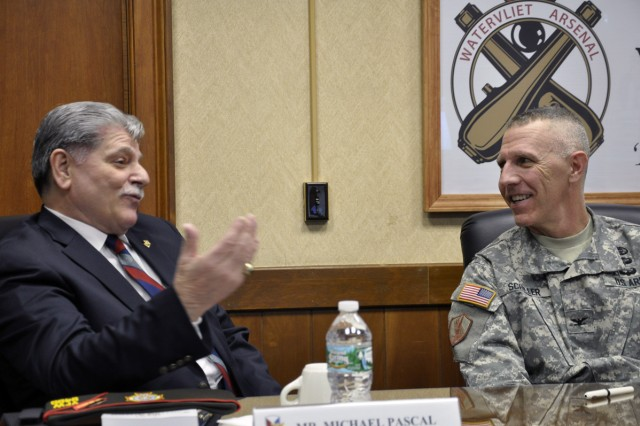 NYS VFW Commander Michael Pascal and Col. Lee H. Schiller Jr., the Arsenal Commander, discussing Pascal's Army background.