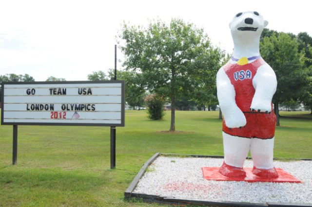 Sgt. Ted E. Bear wears his Olympic best to show his support for the Soldiers competing in the 2012 Olympic Games in London.
